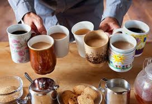 Coffee may be served in a large mug or in a tiny espresso cup!