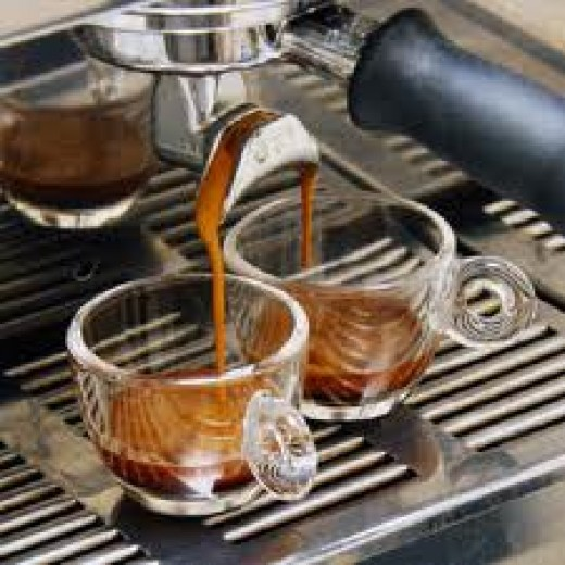 Espresso is best enjoyed after a meal to seal the stomach from further eating.  Those in the know say that milk and coffee is OK in the morning but never right after lunch.  Enjoy!