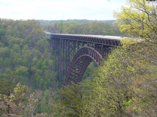 The New River Gorge Bridge in West Virginia, the third longest single-span steel bridge in the world.
