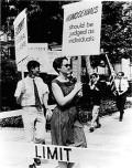 Barbara Gittings picketing Independence Hall July 4, 1966. Photo taken by Kay Lahusen.
