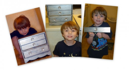Devin being proud that he helped with the jewelry box  :)