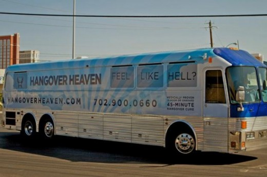 "The new ""Hangover Heaven"" bus seen along the strip here in Las Vegas, helping tourists to overcome the effects of too much alcohol the night before."