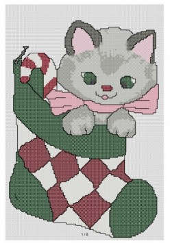 Cross Stitch Pattern Kitten in Stocking