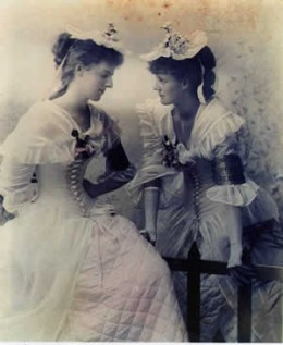 Eva Gore-Booth (right) with her sister Constance at the opening of Drumcliffe Creamery in 1895.