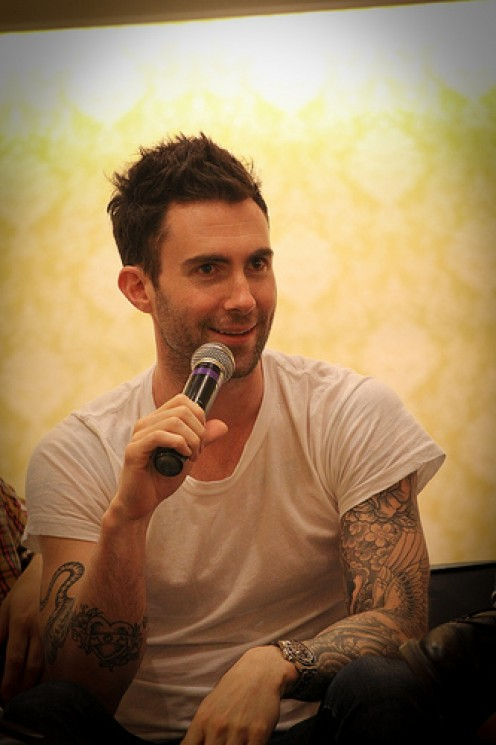 Adam Levine at a press conference in Singapore.