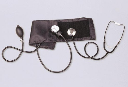 A sphygmomanometer and stethoscope
