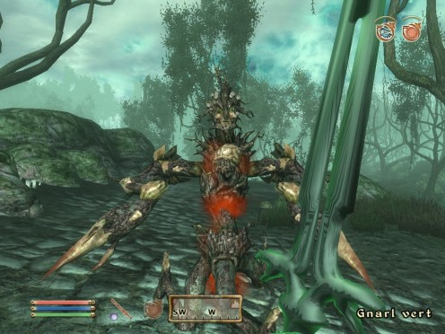 The player fends off a ferocious tree with one of the new swords!