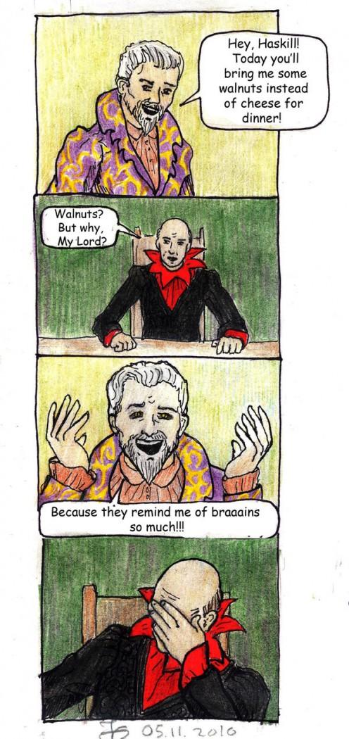 Sheogorath's logic, parodying Patrick Stewart's Star Trek facepalm. Click to see enlarged.