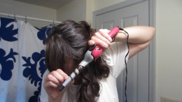 Wrap the hair around the wand in a spiral fashion and hold for a few seconds.