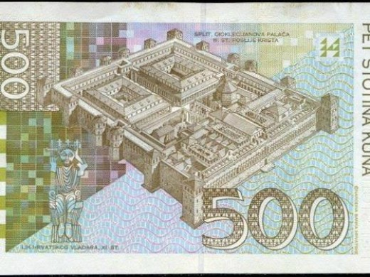On the back side of the 500 Croatian Kuna note is a picture of the Ancient Diocletian's Palace.  Built in 300 A.D., it was patterned after a Roman army camp with two main roads intersecting in the middle, four sections and sixteen towers.