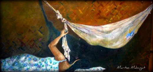 "Painting ""Mother & Child""; Medium - Acrylic oncanvas ~~~ I have observed a neighbour across our house swinging her baby to sleep inside this hammock made from a flour sack. I painted both mother and child out of memory. Bamboo framed."