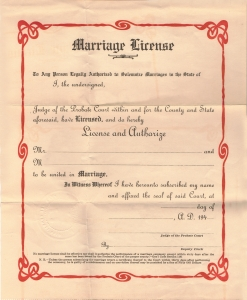 The marriage license