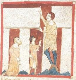 "A Giant helps Merlin reconstruct Stonehenge in Britain. Illustration from Wace's manuscript, ""Roman de Brut."""