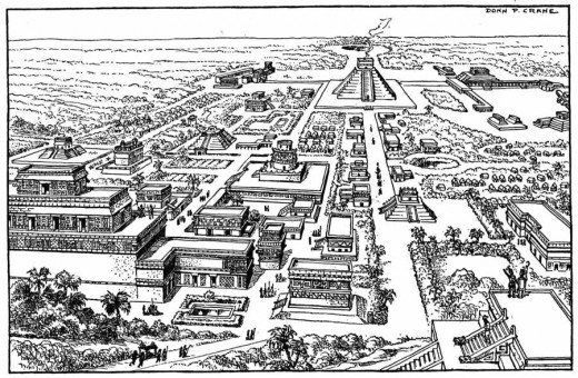 This drawing of Chitzen Itza shows a definite grid pattern to the layout of the city. The city is also aligned in its entirety to the heavens and very specific events at very specific times.