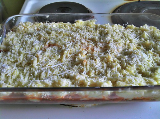 Cheese added on top.  Pre baked version.