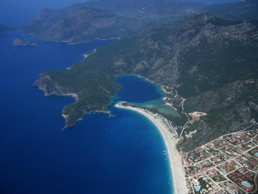A bird's eye view of Olu Deniz lagoon and beach.