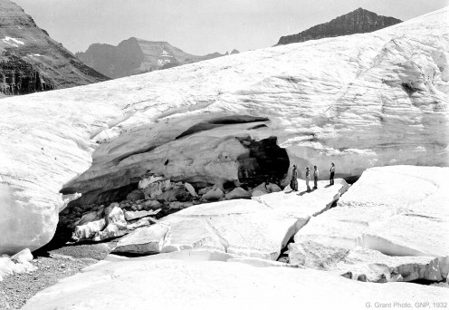 Boulder Glacier in 1932. This ice cave used to be a popular tourist destination.