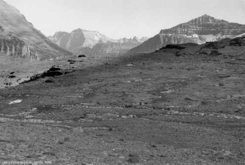 Boulder Glacier, 1988. The ice cave is gone. Also, most of the glacier.