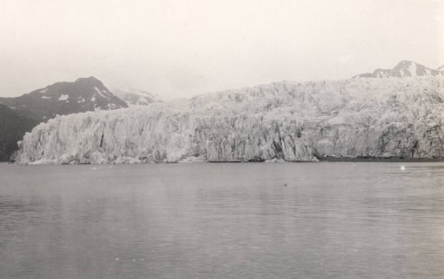 McCarty Glacier, 1909, in Alaska. Its foot used to rest on the bottom of McCarty Fjord.