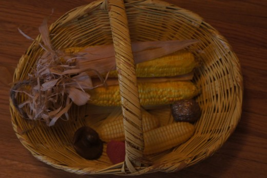 Our props - some of the food my girls gathered