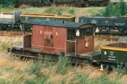 A fitted brakevan with three tail lamps - brake van lamp codes indicated to following drivers what type of freight working was ahead .