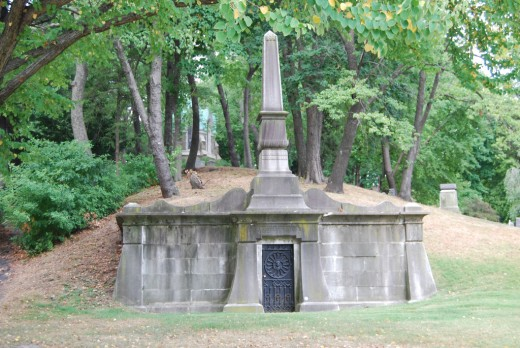 Elaborate mausoleum built into the hillside at Green-Wood