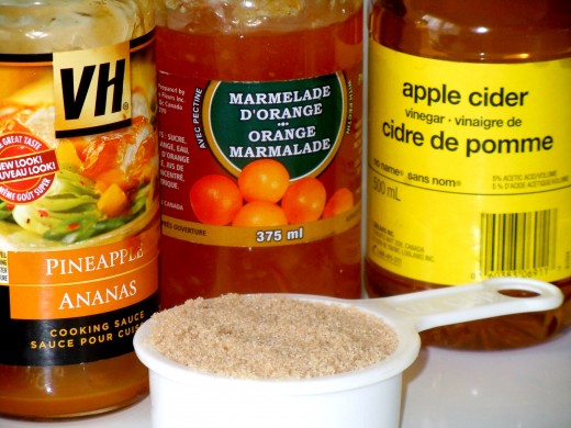 I have used up my last pineapple cooking sauce, add half of my orange marmalade, apple cider vinegar and brown sugar.