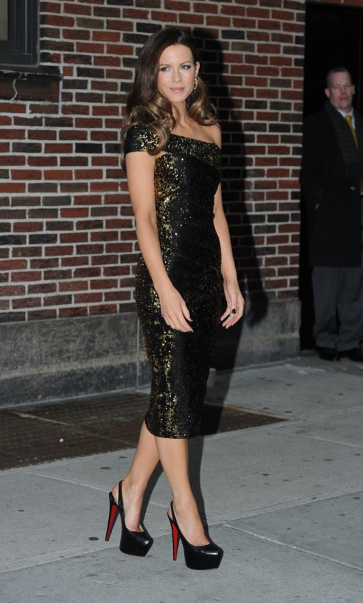 Kate Beckinsale outside The Late Show