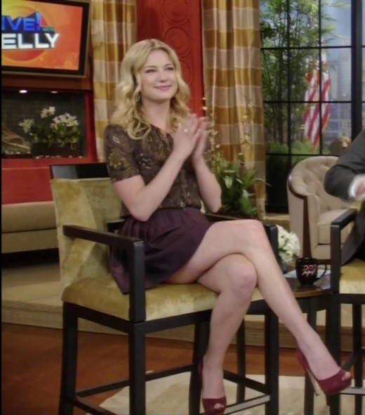 Emily Van Camp long legs crossed on Live! With Kelly