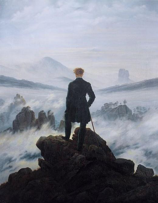 "Caspar David Friedrich, ""The Wanderer above the sea of fog"", oil on canvas, 1818, Hamburger Kunsthalle"