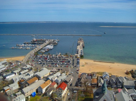 Provincetown Harbor seen from the top of the Pilgrim Monument.