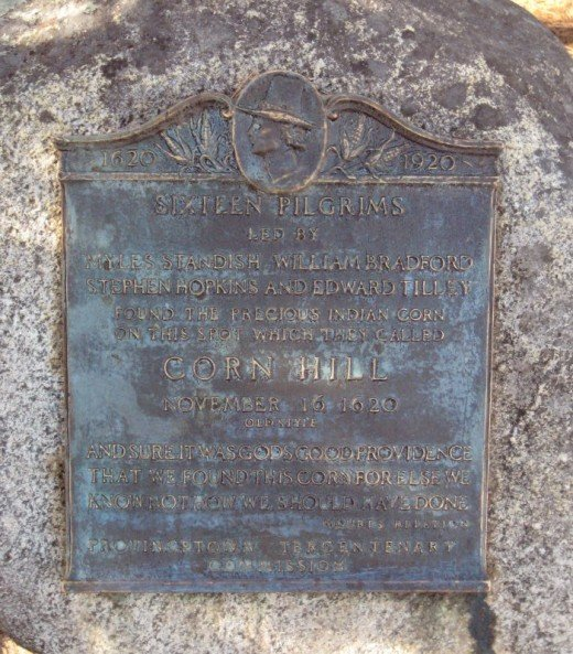 A plaque near Corn Hill Beach tells of the site's historic significance.