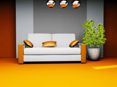 Blue-gray neutral backdrop brings out the intensity of it's complement, orange
