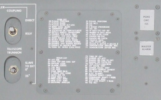 "DSKY Noun-Verb code ""cheat sheet"" printed on the Command Module control panel"