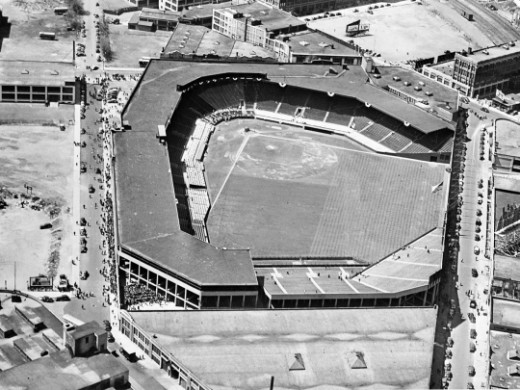 An aerial shot of Fenway park in the mid 20th century.