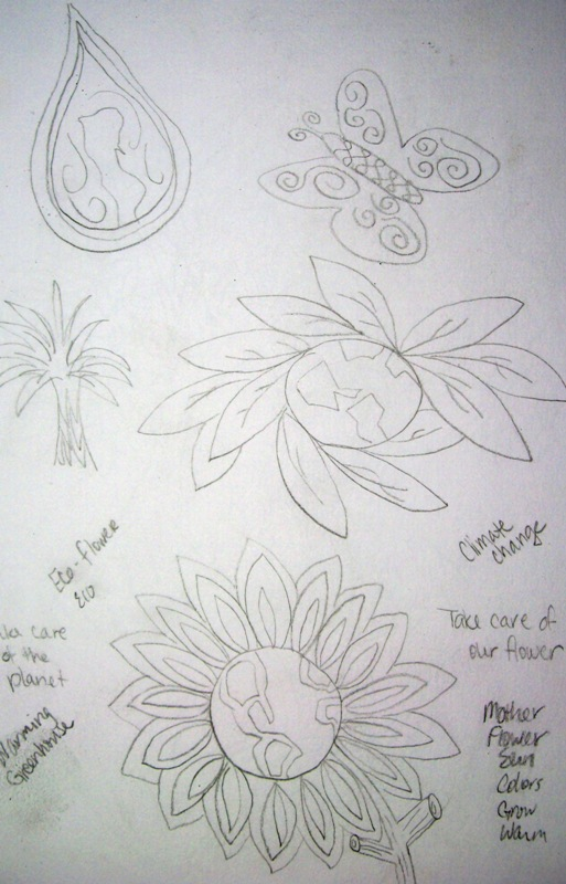 "My sketches before I came up with my flower.  Lots of ""bad"" sketches lead up to the ""good"" one."