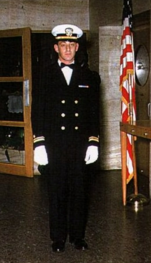 Harvey in his naval uniform, 1954.
