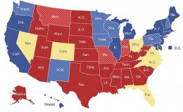 Taken from the New York TImes article Changes SHift Toward Obama in Electoral Map, by Adam Nagourney.