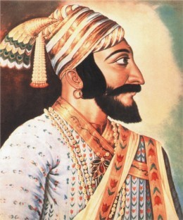 Maratha King Shivaji. A painting by contemporary European artist. This painting is used by Government of India and Government of Maharashtra as official.