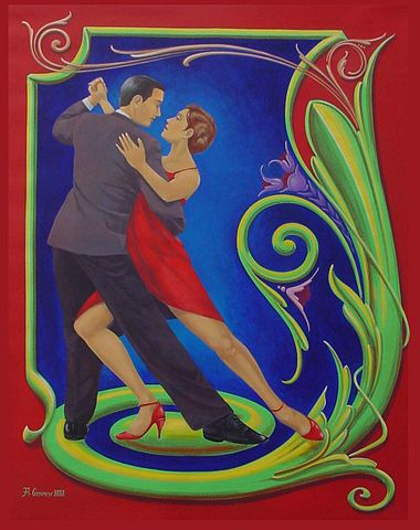 The tango, seen in the popular street art of Fileteado