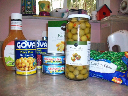 Ingredients for Pasta Salad with Chickpeas, Red Kidney Beans, and Tuna