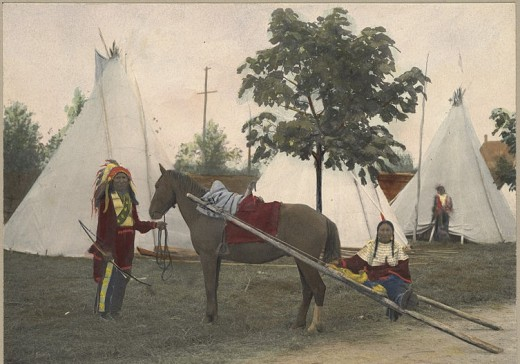 Sioux Litter.  Horses and dogs pulled litters for our Native Americans and First Nations Peoples.