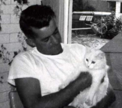 Uncle Lionel with his cat, Sugar