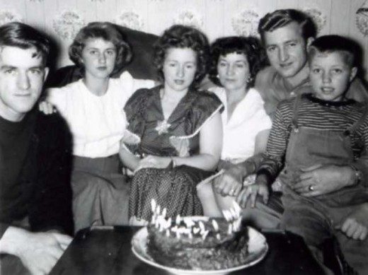 A birthday celebration with Mom's family: Lionel, Sue, Mom, Grandma Jen, Ed and Bob