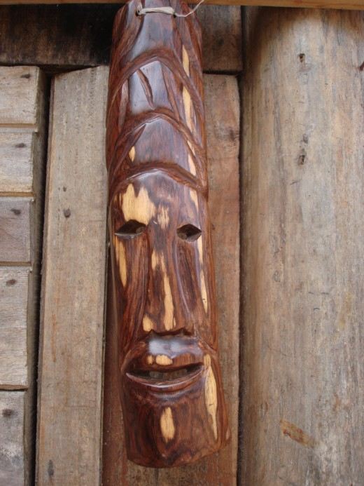 One of several masks made by the Santa Cruz wood carver.  This mask is about 2 feet long.