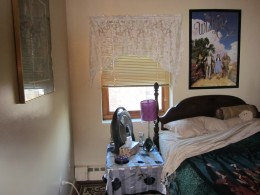 Yes, I;'m brave enough to share with you a picture of my room in my dinky apartment in upstate New York.  It really does look like a teenager's bedroom.