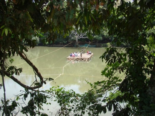 En route to Kuruva Islands on a Bamboo raft