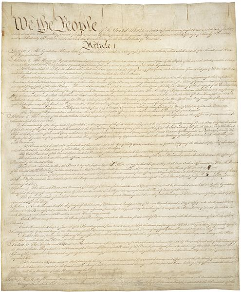 The Constitution of the United States. Article 1, Section 2 contains the Three Fifths Clause