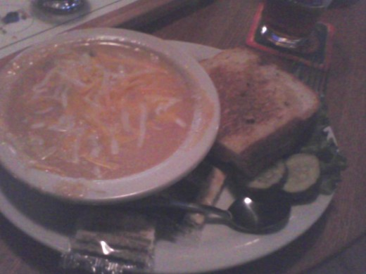 Beer cheese soup and grilled turkey sandwich