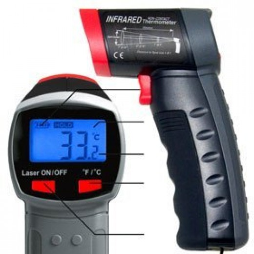 Infrared Thermometer Non Contact Laser Sight Digital Pyrometer, Automotive Diagnostic Equipment, Temperature Max. 968°F (520°C)